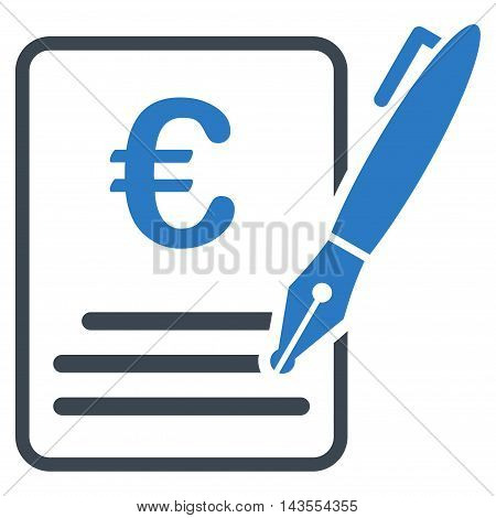 Euro Contract Signature icon. Vector style is bicolor flat iconic symbol with rounded angles, smooth blue colors, white background.
