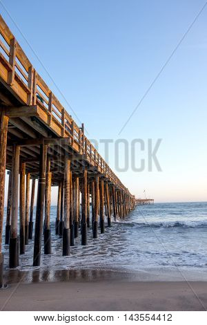 Old historic wooden pier in city of San Buena Ventura Southern California