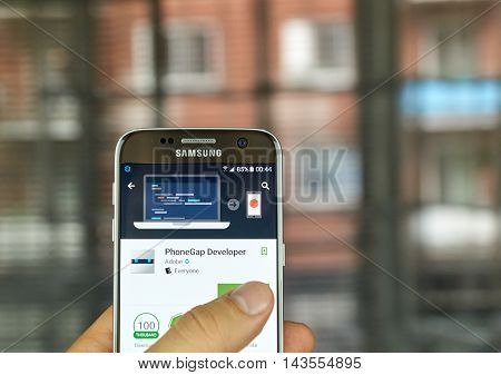 MONTREAL CANADA - JULY 15 : Adobe PhoneGap Developer application on Samsung s7 screen. The PhoneGap Developer is a testing utility for web developers and designers using the PhoneGap framework