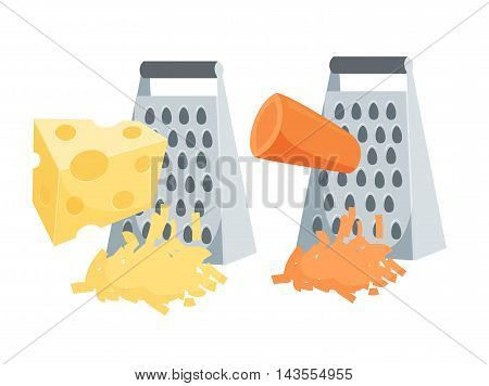 Grate set. Grated carrots and cheese. Cooking process vector illustration. Kitchenware and cooking utensils isolated on white.