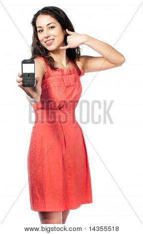 Beautiful Young Woman In Red Dress With Phone