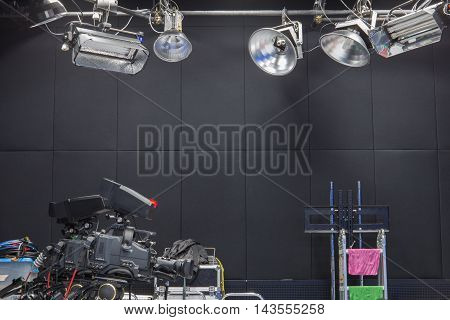 Television studio with camera and lights system .