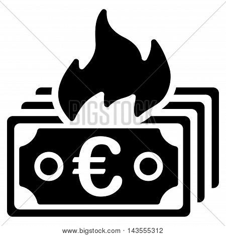 Burn Euro Banknotes icon. Vector style is flat iconic symbol with rounded angles, black color, white background.
