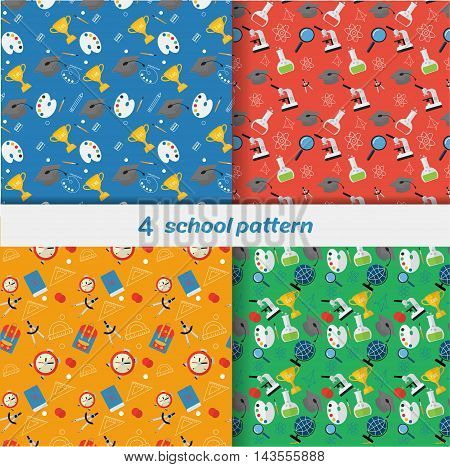 Vector set of 4 school seamless pattern. Back to school illustration on notebook paper background. High school objects in flat style.