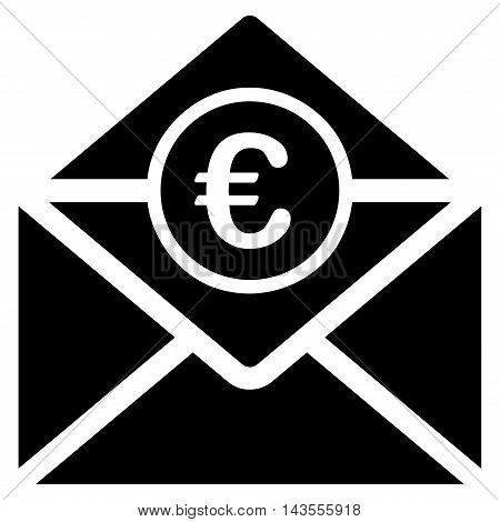 Euro Mail icon. Vector style is flat iconic symbol with rounded angles, black color, white background.