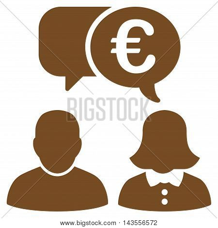 Euro Chat icon. Vector style is flat iconic symbol with rounded angles, brown color, white background.