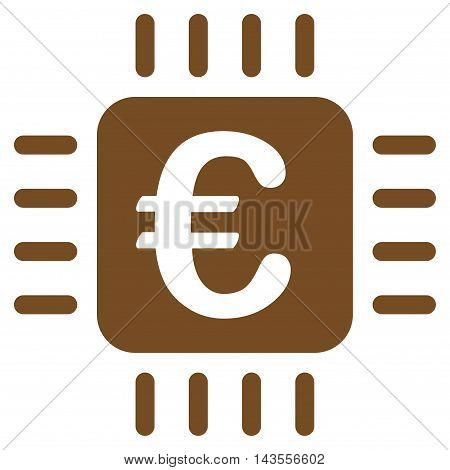 Euro Chip icon. Vector style is flat iconic symbol with rounded angles, brown color, white background.
