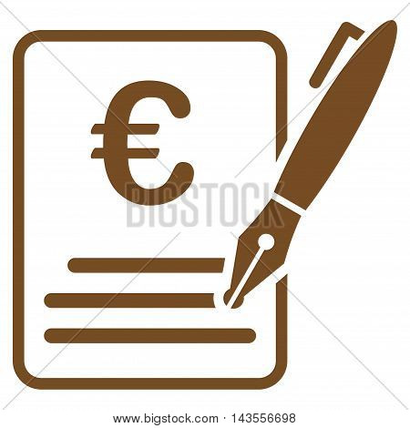 Euro Contract Signature icon. Vector style is flat iconic symbol with rounded angles, brown color, white background.
