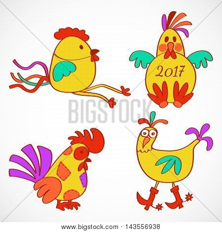 Set of four hand drawn stylized cartoon rooster symbol of 2017 new year