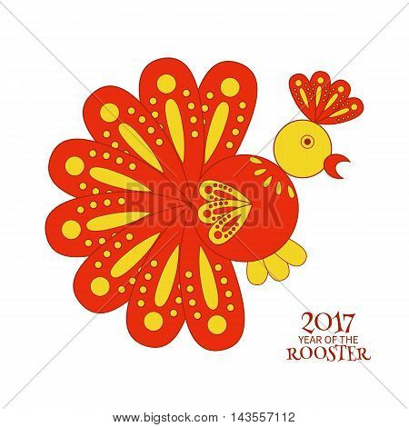 Greeting card of a stylized red rooster symbol of 2017 new year