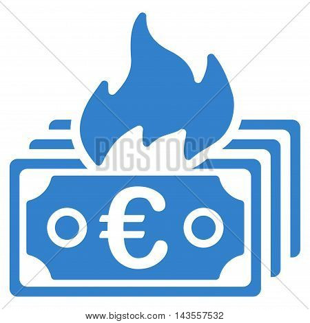 Burn Euro Banknotes icon. Vector style is flat iconic symbol with rounded angles, cobalt color, white background.