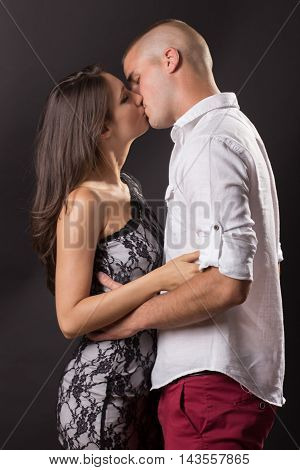 Young Couple Early 20S Man Woman Kissing