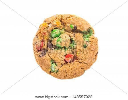 cookies with colored chocolate drops on a white background