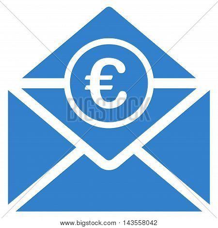 Euro Mail icon. Vector style is flat iconic symbol with rounded angles, cobalt color, white background.