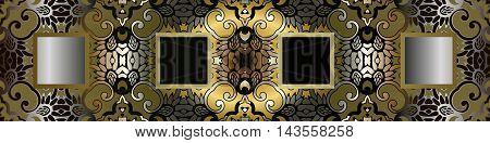 abstract antique gold decor sprinkler element tile frieze on the basis of a symmetrical geometric figures