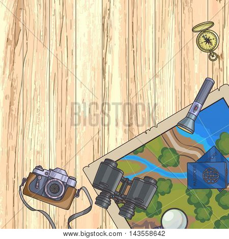 Tourism banner. Set of travel equipment on wood background and passport, photo camera, compass, flashlight, binoculars. Adventure trip. Vector illustration.