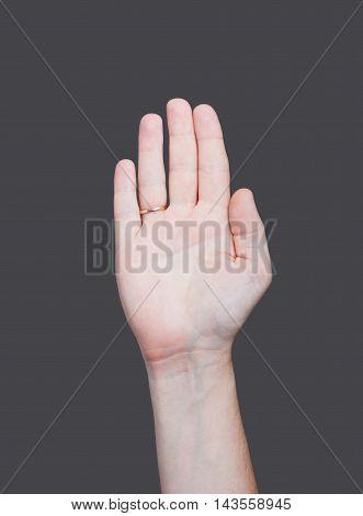 Empty Open Man Hand On Grey Background