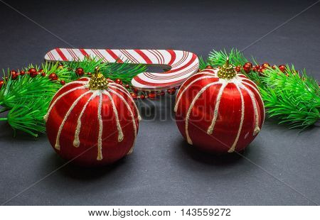 Two Red Stripes Christmas Balls, Fir Branchs And Toy