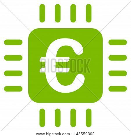 Euro Chip icon. Vector style is flat iconic symbol with rounded angles, eco green color, white background.