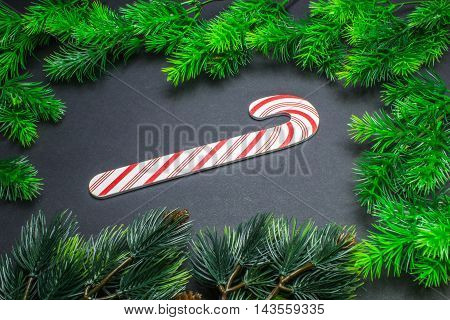 Christmas Decorations, Frame With Fir Branches And Toy On A Black Background