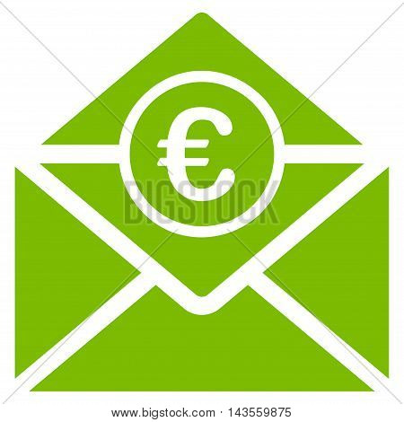 Euro Mail icon. Vector style is flat iconic symbol with rounded angles, eco green color, white background.