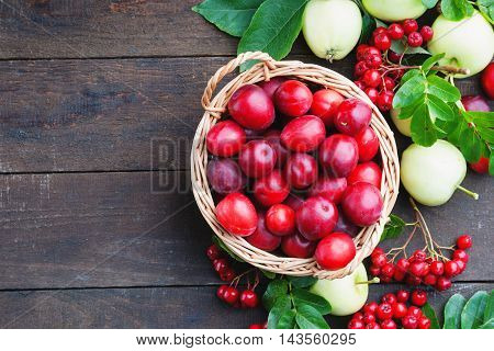 Plums in a basket, apples and rowanberry