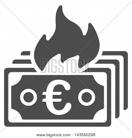 Burn Euro Banknotes icon. Vector style is flat iconic symbol with rounded angles, gray color, white background.