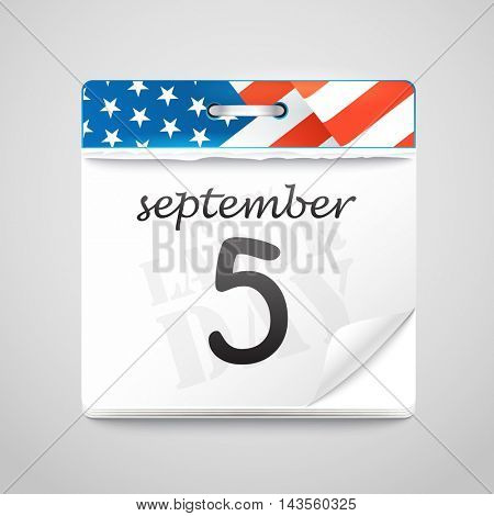 The celebration of The Labor Day. Vector greeting card with calendar