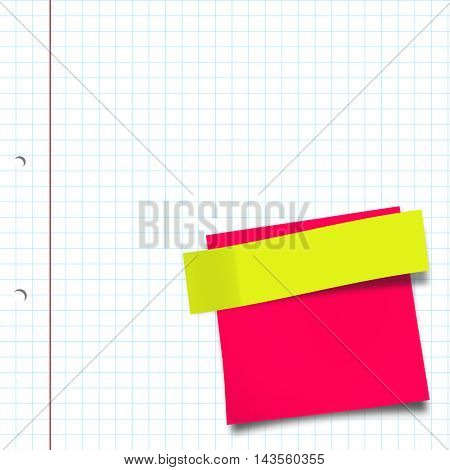 Close-up of pink adhesive note against spiral notepad