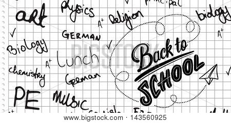 School buzzwords against spiral notepad