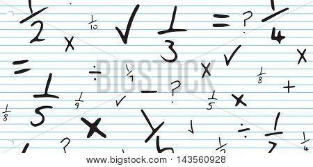 Maths against spiral notepad