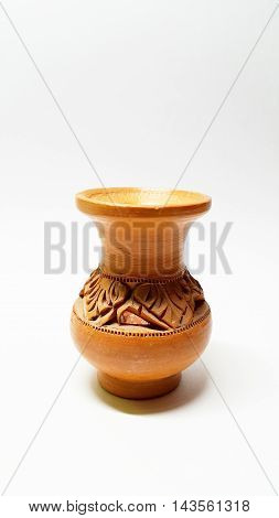 A small thai earthenware isolated on white background