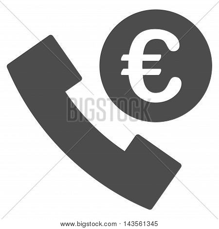 Euro Phone Order icon. Vector style is flat iconic symbol with rounded angles, gray color, white background.
