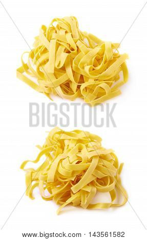 Pile of fresh raw fettuccine ribbon pasta isolated over the white background, set of two different foreshortenings