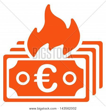 Burn Euro Banknotes icon. Vector style is flat iconic symbol with rounded angles, orange color, white background.