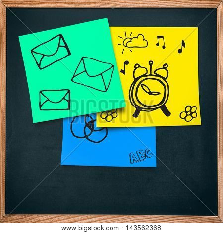 Email icon against adhesive note