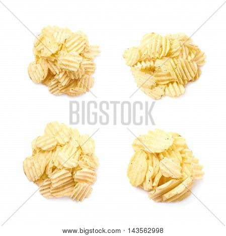 Pile of multiple seasoned potato chips crisps, composition isolated over the white background, set of four different foreshortenings