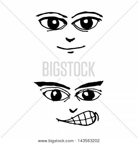 doodle emotion face icon hand draw illustration design