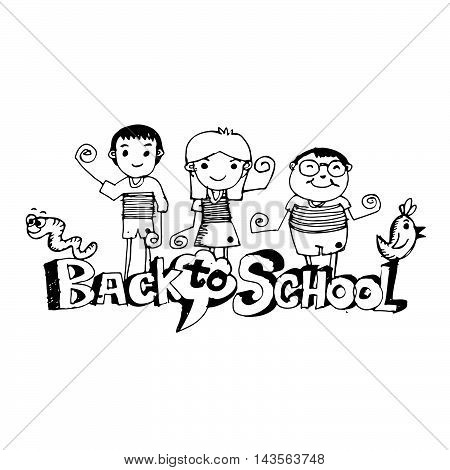 doodle kid back to school icon hand draw illustration design .by Jaidee Family Style