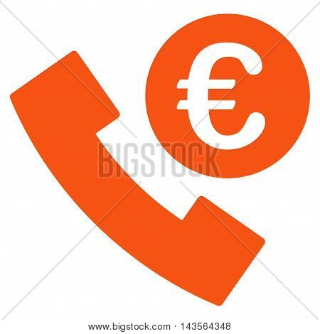 Euro Phone Order icon. Vector style is flat iconic symbol with rounded angles, orange color, white background.