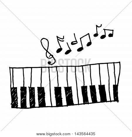 piano music icon hand draw illustration design