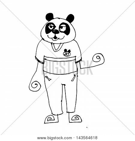 Doodle panda icon hand draw illustration design
