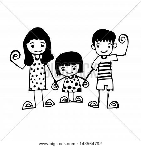 Doodle family icon hand draw illustration design .by Jaidee Family Style