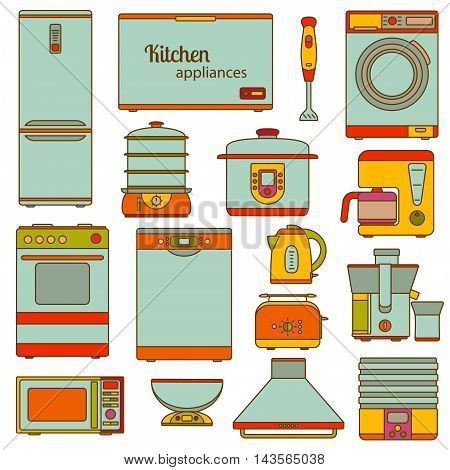 Set of line icons. Kitchen appliances icons set. Vector illustration.