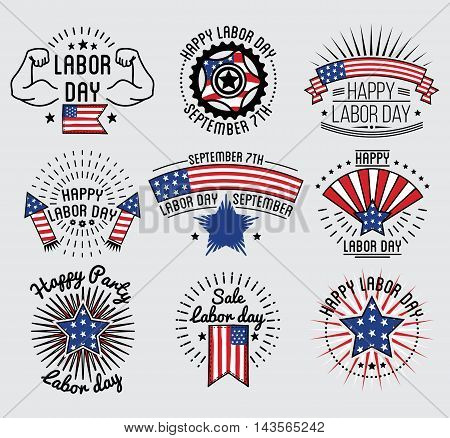 Labor Day National holiday of the United States set badge and labels design. Vector Illustration.