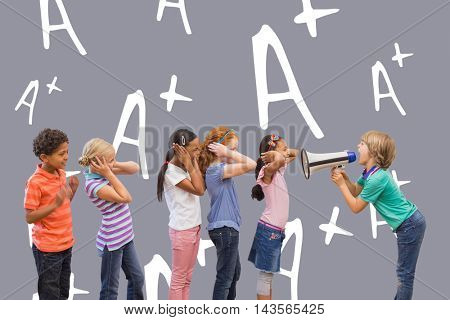 Cute pupil shouting in classroom against grey background