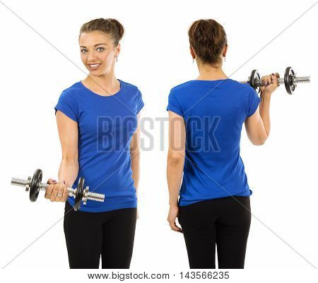 Photo of a woman posing with a blank blue t-shirt and lifting a dumbbell ready for your artwork or design.