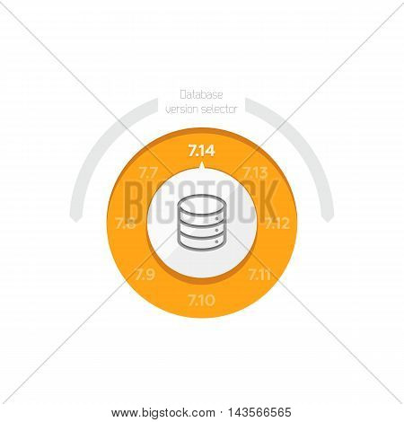Vector Flat Illustration of a Database Version Selector for Server