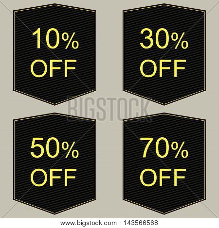 Discount price tags. Vector in black and red.