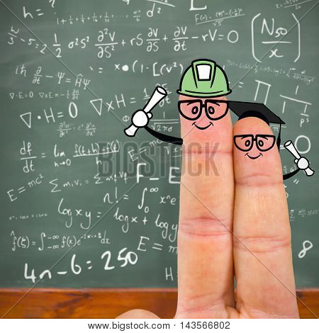 Cropped image of fingers against blackboard